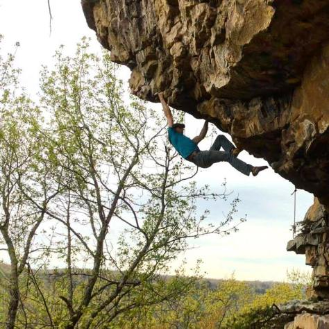 "Soloing in the treetops on ""First Offense"" (5.12a)"